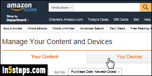 Change the default device/app for Amazon Kindle eBooks