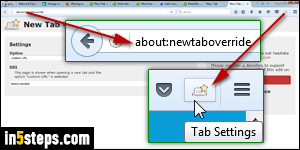 Change the Firefox new tab page to a blank page or URL