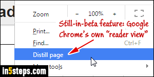 Show the reader view (reading mode) in Google Chrome