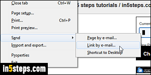 Email link to web page from Internet Explorer 11 / 10 / 9