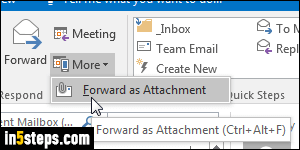 Forward an email message (as attachment) from Outlook