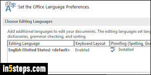 Add a new editing language in Word 2016 / 2013 / 2010