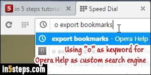 Add a custom search engine to Opera