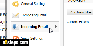 Create a filter (email rule) in Rackspace Mail