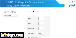 Create a custom screen resolution with Intel HD Graphics